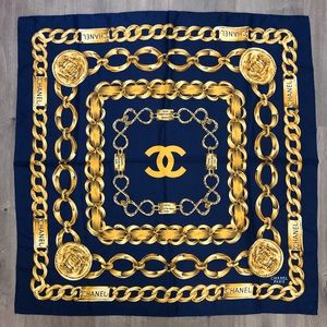 Chanel Chain Print Silk Scarf Navy Blue Gold